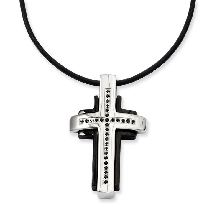 Stainless Steel Black-plated & Black Diamonds Cross Necklace SRN961-18
