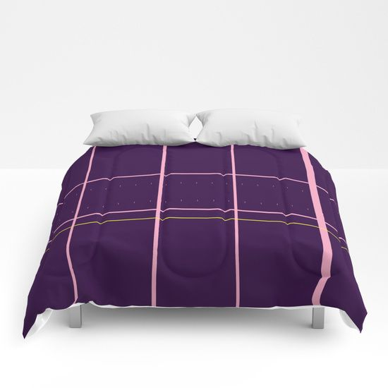 Grid Purple Comforters by Bravely Optimistic | Society6