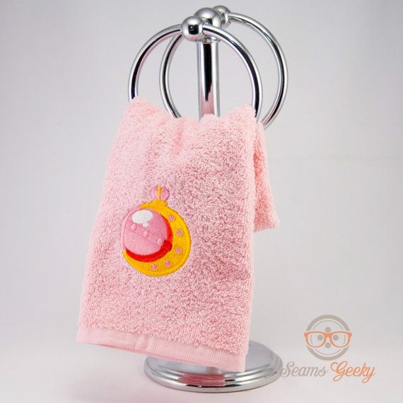 Sailor Moon Inspired Embroidered Hand Towel by SeamsGeeky on Etsy