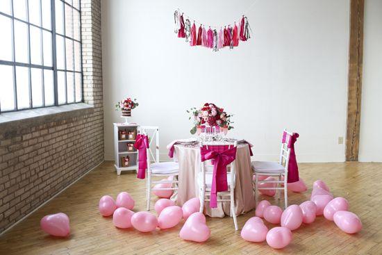 Scatter our #burtonandburton Pink Latex Heart Balloons on the floor to recreate this colorful decor idea. #celebrate #valentine