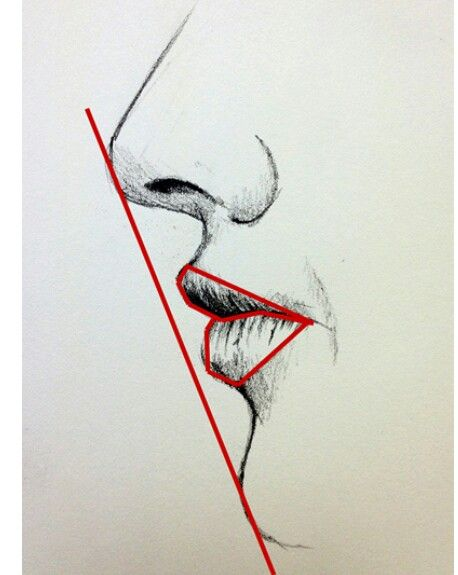 Deze tekening is erg handig om te bepalen hoe hoog de kin en mond moeten zijn en hoe de verhoudingen zijn.