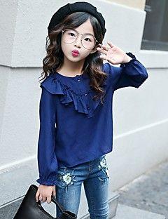 Camisa+Chica+Un+Color+Algodón+Primavera+Otoño+Beige+Azul+Marino+–+COP+$+36.552