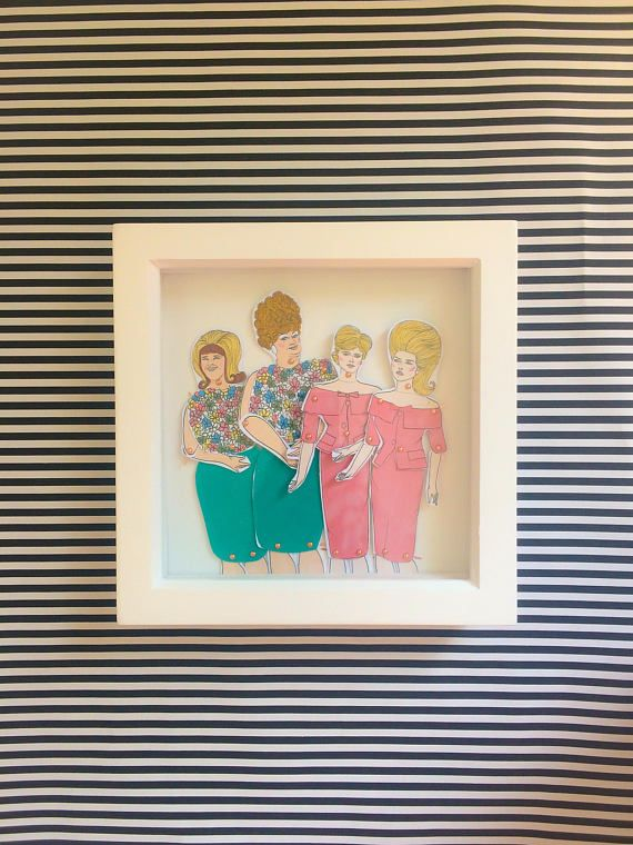 Hairspray framed dolls! These beautiful little dolls are hand illustrated by myself, hand cut and pinned using mini gold brad pins then framed.  The frames come in a lovely little package that can be personalized all you have to do is message me with who the gift is TO: and FROM: and I can pop that on ready for gifting.  All dolls are roughly 25cm tall and are professionally printed on sturdy 300gsm matt card before being hand cut and pinned. All framed doll sets come in a little…
