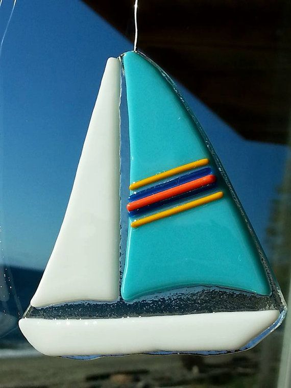 Fused Glass Blue Sailboat Tree Ornament or Sun by RecycledelicBC