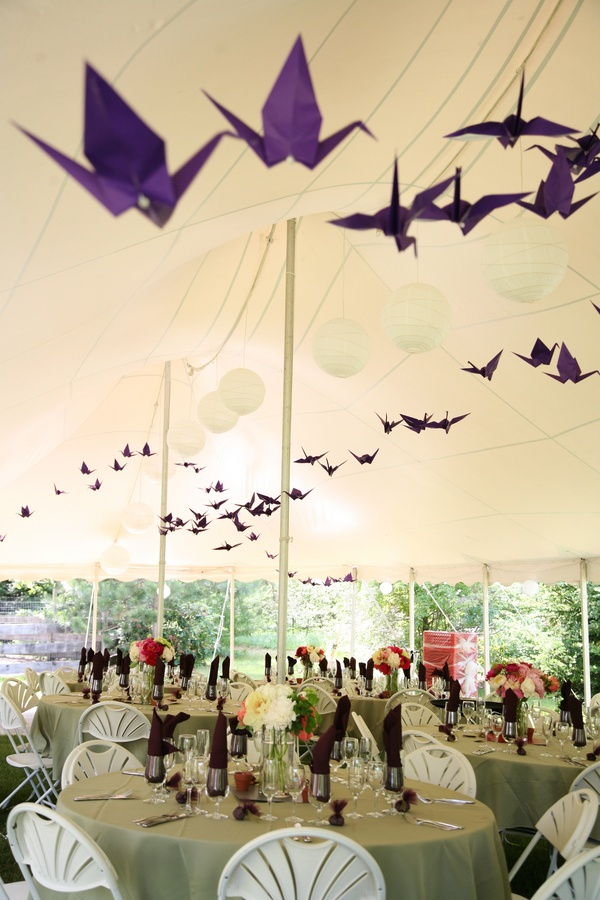 """Tent w paper cranes--these cranes could be red, Hannah.  They would look so cool """"flying"""" through the white tent."""