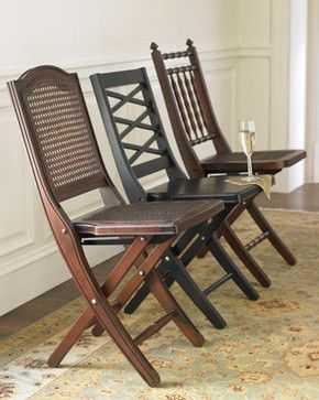Wooden Folding Chairs - traditional - chairs - Horchow love this for extra dining room seating! fold up and store!!!
