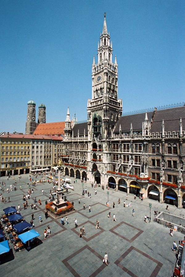 The Marien square in downtown Munich is where you'll find the new city hall and cathedral. - Munich