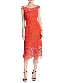 Kay Unger - Boat Neck Floral Lace Sheath Dress