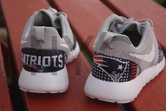 Nike Roshe Run Grey White New England Patriots V5 by NYCustoms
