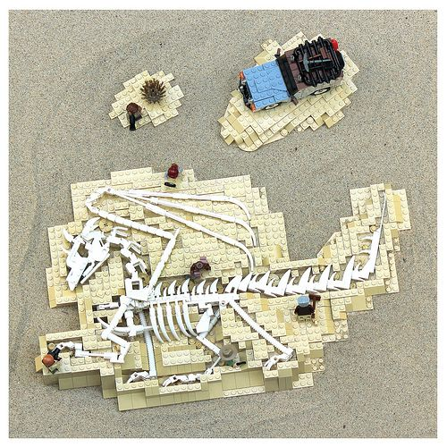Jaw-dropping LEGO build of a paleontlogical dig ... with a twist!  [note the dinosaur!]