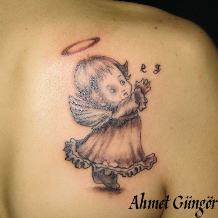 Baby angel tattoo for girls