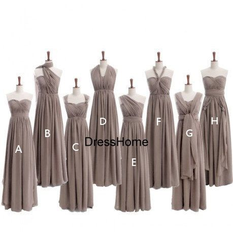 Halter Long Grey Bridesmaid Dress