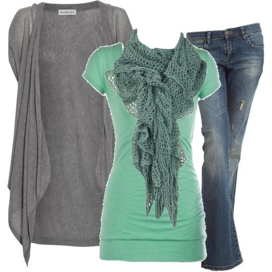 Simple outfit- mint green and grey