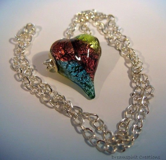 Foil Glass Heart Focal Bead and Silver by DreamspiritCreations