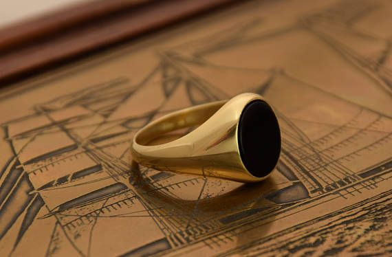 Black Onyx Ring Cushion Signet Ring Mens Onyx Ring Gold