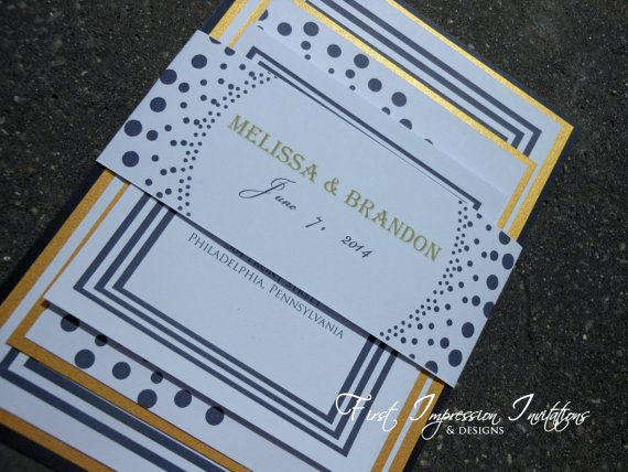 17 Best images about Navy Blue Wedding Theme Colors – Navy Blue and Gold Wedding Invitations