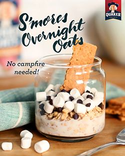 No campfire needed! Treat yourself to the sweet combination of Quaker® S'mores Overnight Oats for breakfast. Ingredients: 1/2 cup(s) Quaker® Oats, 1/2 cup(s) low-fat milk, 1 tablespoon(s) chocolate chips, 1 tablespoon(s) marshmallows, 1 graham cracker