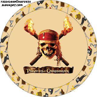 Piratas do Caribe - Kit Completo com molduras para convites, rótulos para guloseimas, lembrancinhas e imagens!