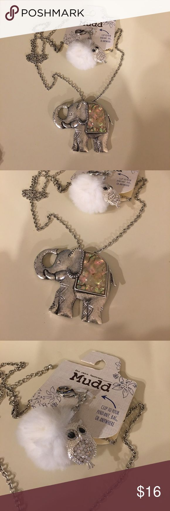 NWT Mudd Elephant Necklace NWT Mudd Elephant Necklace with little owl purse clip. Chain is 32 inches long. Elephant 🐘 measures 2 1/2 x 2 1/2 metal light weight Mudd Jewelry Necklaces