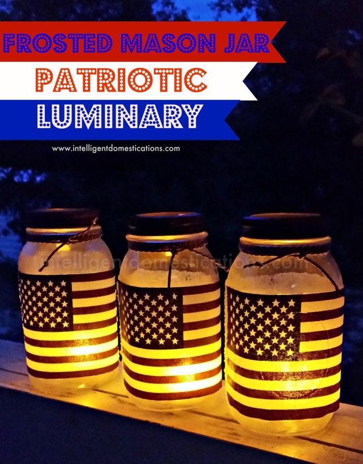 Frosted Mason Jar Patriotic Luminaries