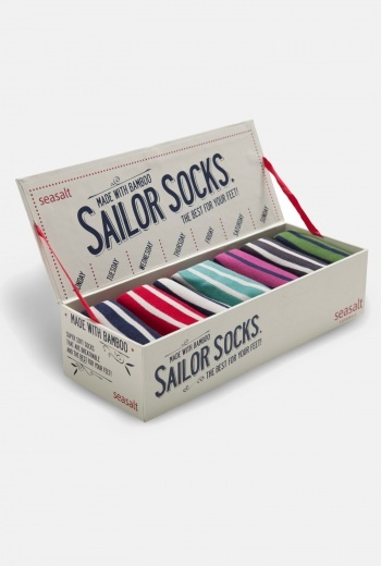 cute packaging!! + stripes...sailor socks. nice detail, step up your sock game!