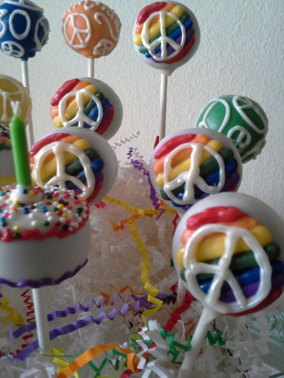 Peace Cake Pops - Birthday Party - Rainbow - Boho Cake Pops - Artist Party Favor on Etsy, $36.00