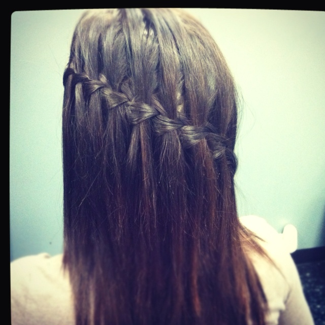 My creation of the waterfall braid:):)-jenna trammell @ blondies hair salon
