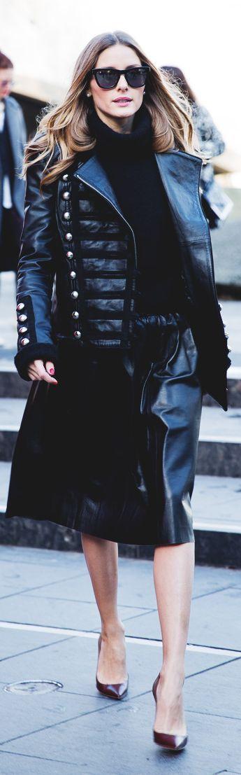 Olivia Palermo | Military Leather Jacket.