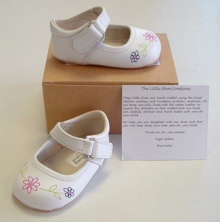 Ickle Shooz White Embroidered Mary Jane Pram Shoes - Handmade Baby Ickle Shooz - Little Wanderers