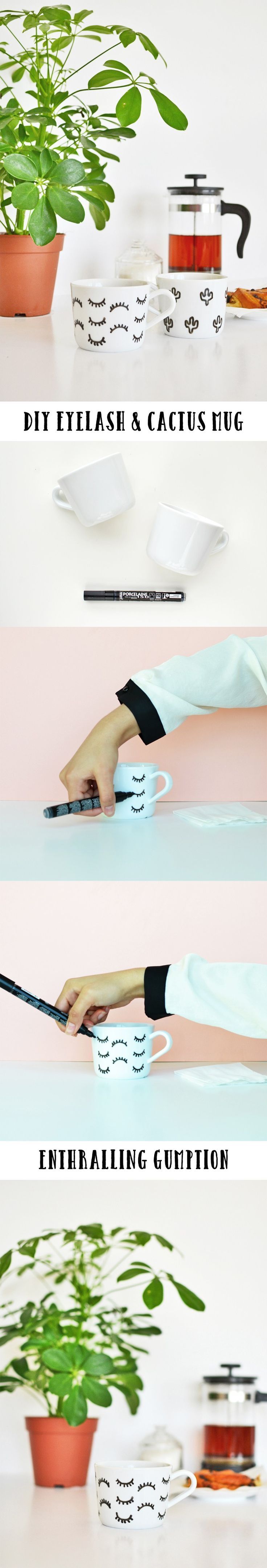 Want to make your mug interesting and unique then follow this tutorial here to make your very own eyelash and cactus mug