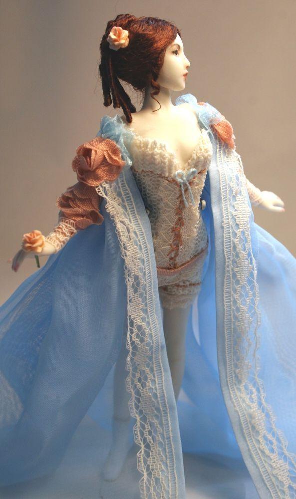 Bride on her wedding night, all porcelain 1:12 scale dainty doll - Patricia Rose #handmadecreation