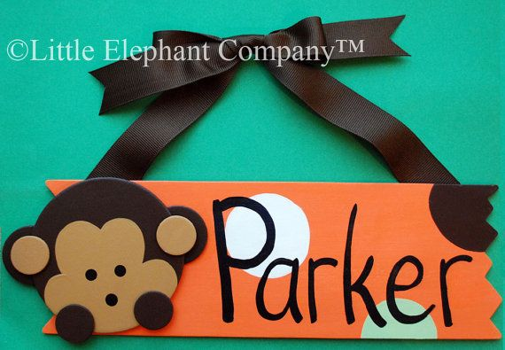 Pop Monkey Name Sign  FREE Personalization by LittleElephantCo