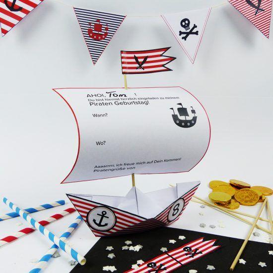 Piratenschiff Einladung Mit Unserer DIY Vorlage Zum Download Kannst Du  Schnell Deinen Kindergeburtstag Piratenstark Dekorieren
