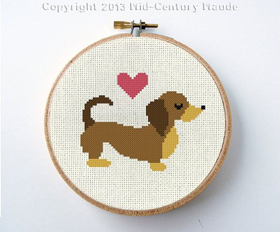 Instant download for a counted cross stitch pattern for a little mid-century modern dachshund Valentine dog. You will download a PDF file of the needlepoint pattern after cleared payment. It is designed on 22 ct. aida fabric for a 4 frame. however, If you prefer a larger aida count just remember that your cross stitch will increase in size as your fabric squares increase in size (see tip below)! Your pattern will include suggested floss colors and will be in represented in symbols. Regular…