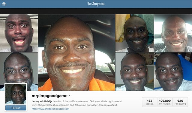 """The Proclaimed Selfie King: MRPIMPGOODGAME- According to Vice.com, MRPIMPGOODGAME is the selfie king of Instagram. He has nearly 500 posts on Instagram-and they're all seflies. MRPIMPGOODGAME, or as he's more colloquially known, Benny Winfied Jr, has drawn nearly 200,000 followers on Instagram, and his stock is rising. MRPIMPGOODGAME is trying to brand his signature look (Something to Remember), and has dubbed himself the :leader of the selfie movement"""""""