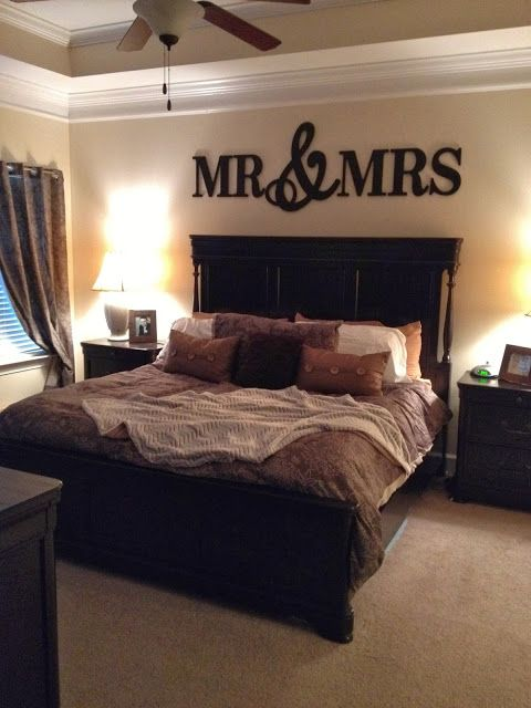 Simply The Simmons: Blog Mr. and Mrs. sign above bed in master bedroom. Bedroom Decor