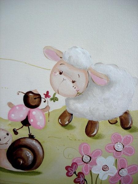 Tableau Mouton et coccinelle Rose Triptyque 2