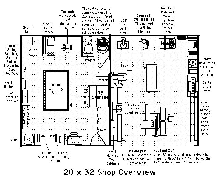 74 best workshop layout images on pinterest workshop for Small woodworking shop floor plans