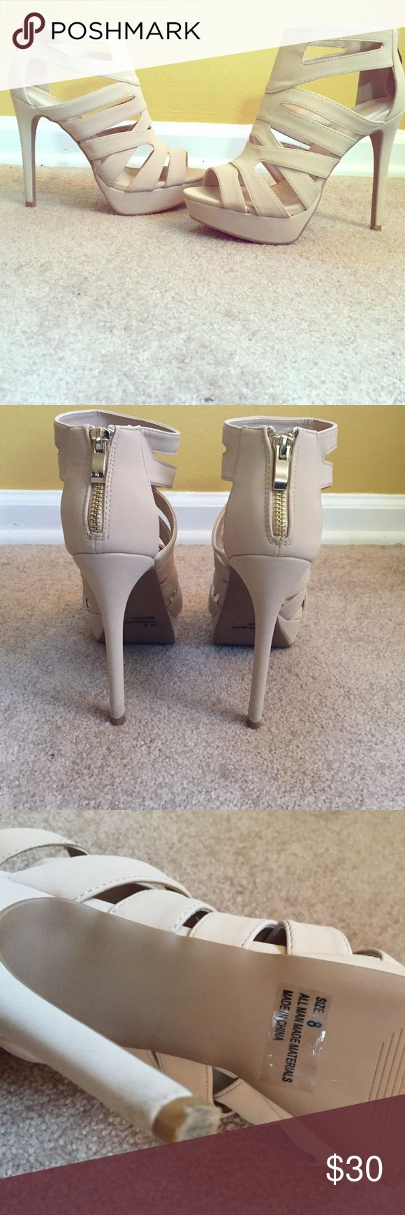 Charlotte Rousse heels Nude in color, only wore them once so they're brand new! Charlotte Russe Shoes Heels