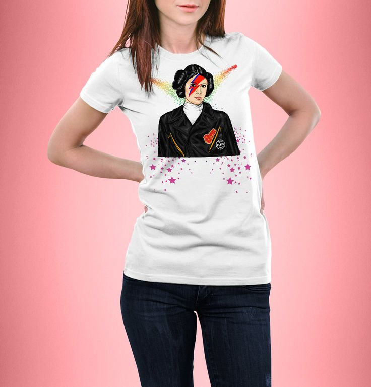 New to CrazyPugPrints on Etsy: Star Wars - Leia -  Rebel Rebel - David Bowie - T-Shirt - Women Fitted (6.99 GBP)