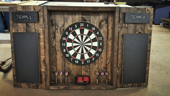 Dartboard Cabinet Rustic dark-stained cabinet by MGcraftsStore