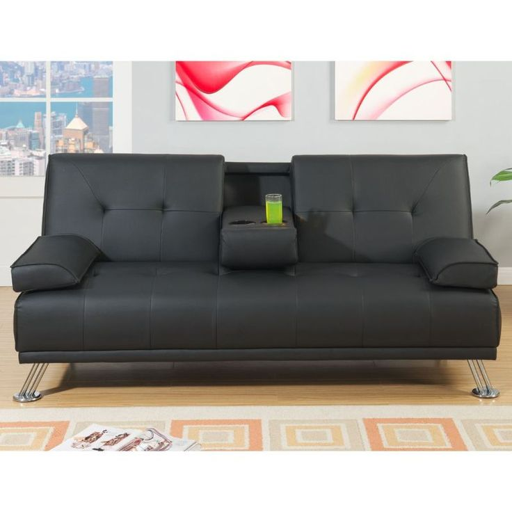 Manhattan 2 Seat Bonded Leather Sofa Bed In Black | Buy Leather Sofas