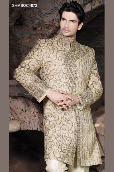 Cream Embellished Brocade Sherwani