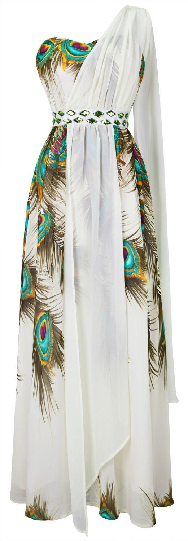 Hot  Peacock Pattern Beaded One Shoulder Maxi Dresses S M L XL 18 Green US $27.99