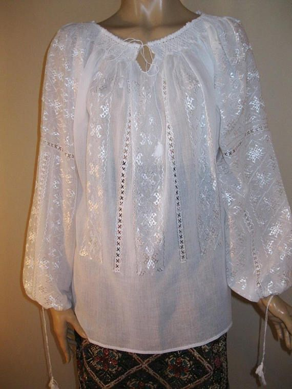 Hand embroidered Romanian blouse  white stars hand embroidery , hand made traditional top, handmade ethnic shirt , Romanian peasant  blouse