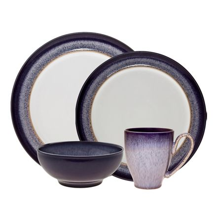 Denby Pottery - Heather 4 piece set 2013. Our Denby USA cousin of Halo! This pattern uses a blue speckle in a lilac glaze, intensified with dark purple edge.