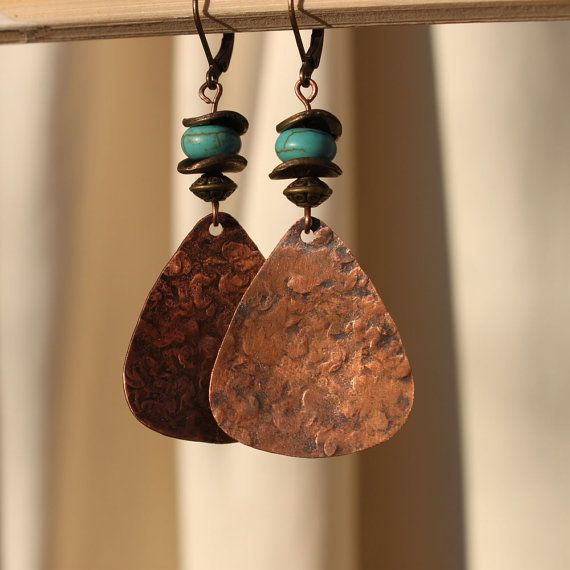 Hammered Earrings  Antiqued Copper Earrings  by LeBouiBouiaBouBou, $20.00