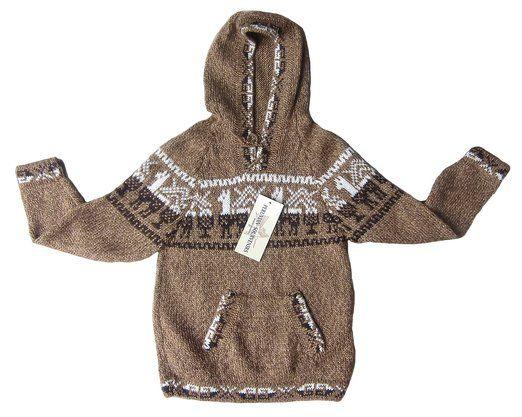 Kinder Kapuzen #Pullover Strickpullover peruanische #Alpakawolle 4-8 Jahre
