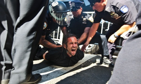Pictures have arrived overnight of protestors being arrested by the NYPD as demonstrators marked the first aniversary of the Occupy Wall Street movement yesterday in Lower Manhattan