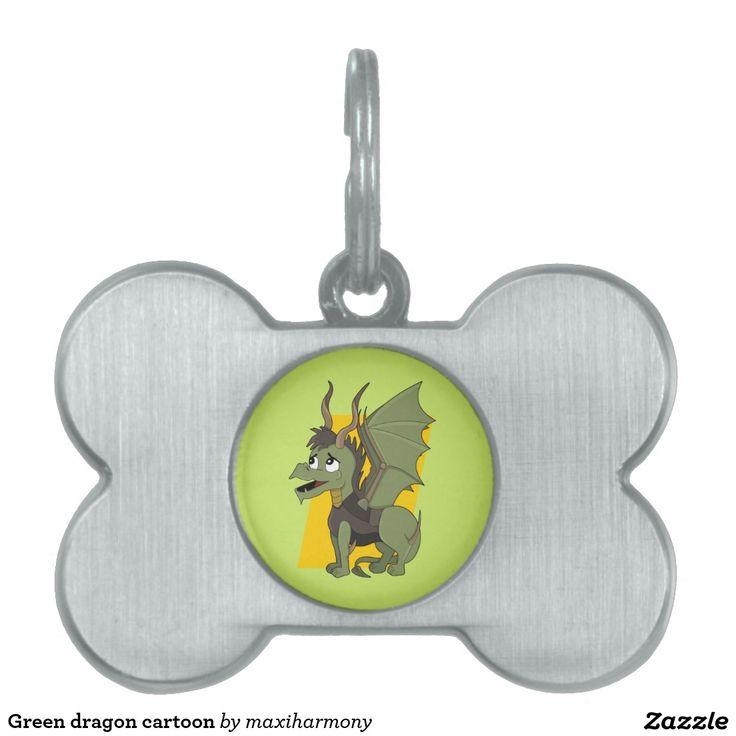 Green dragon cartoon pet ID tags